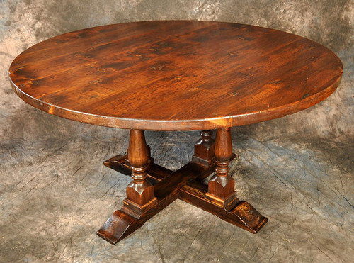 "Rustic Reclaimed Wood Round 4-Legged Pedestal Table 2"" Thick Top"