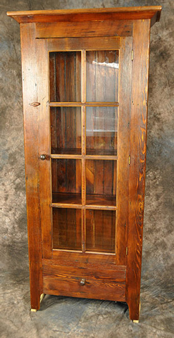 Rustic Reclaimed Wood 8 Pane Glass Door Cupboard with Drawer 38W x 12D x 74H