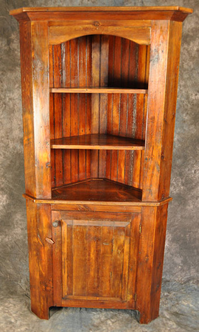 Rustic Reclaimed Wood Open Top Raised Panel Corner Cupboard 28D x 70H