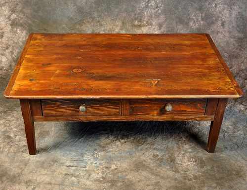Rustic Reclaimed Wood French Leg Two Drawer Coffee Table 48L x 30D x 18H