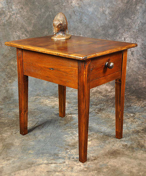 Rustic Reclaimed Wood End Table With Drawer 24L x 20D x 24H
