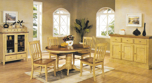 Chatham Pedestal Round 42inch Table With Four Slat Back Chairs