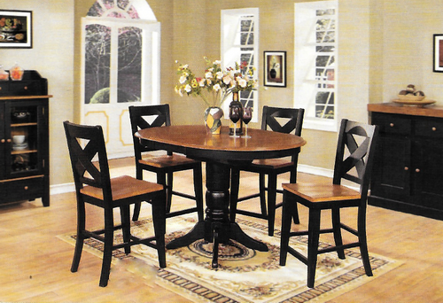 Chatham Pedestal Pub Table With Four X Back 24 inch Barstools Black &  Pecan Finish