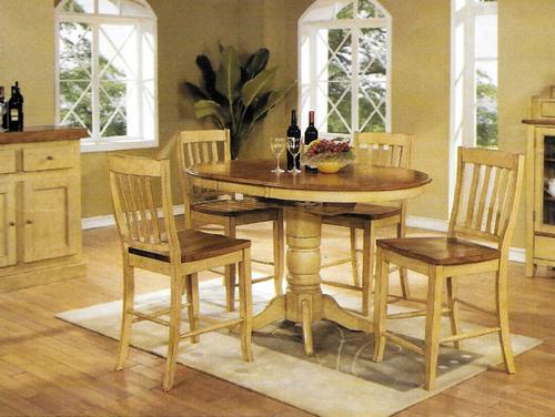 Chatham Pedestal Pub Table With 4 Slat Back 24 inch Barstools