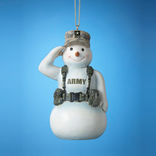 Army Snowman Personalized Ornament
