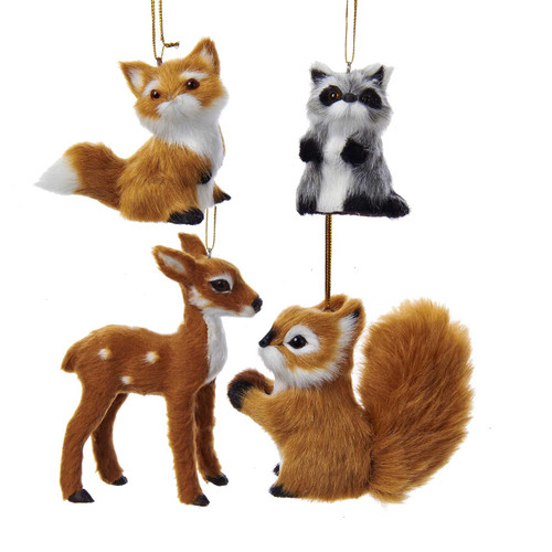 "2-4""Plush Animal Ornament Set of 4 Adorable Woodland Animalswoodland creatures ornament  cute ornament  wildlife ornament  funny hunter ornament  funny hunting ornament  adorable baby animals"