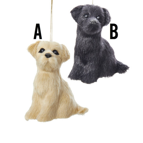 Plush Black/Yellow Labrador Ornaments