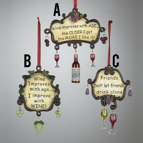 Tuscan Wine Wording Ornament