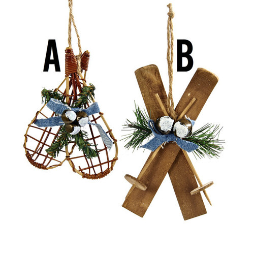 Snowshoes With Greenery Ornaments   (SKIS are SOLD OUT