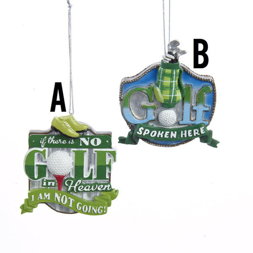 Golf Sign Hanging Ornament 2 Assorted