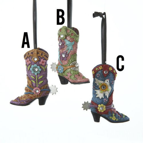 Western Boot Ornament 3 Assorted