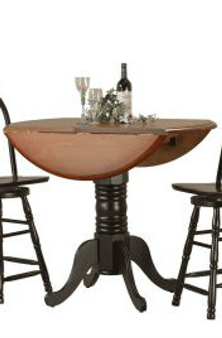 """42"""" Dropleaf Table Black & Cherry Two Tone"""
