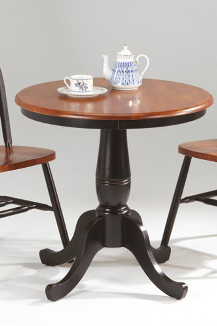 30 inch Round Pedestal Solid Wood Bistro Table Solid Wood