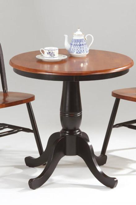 "Solid Birch 30"" Round Single Pedestal Table Black & Cherry Finish"