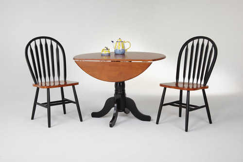 "42"" Round Drop Leaf Table  Solid Wood Only 24"" with leaves down Shown with Fanback Chairs  Black & Cherry Finish"