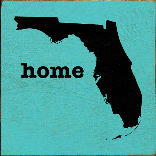 """Home (State Silhouette) 7""""x 7"""" Wood Sign"""