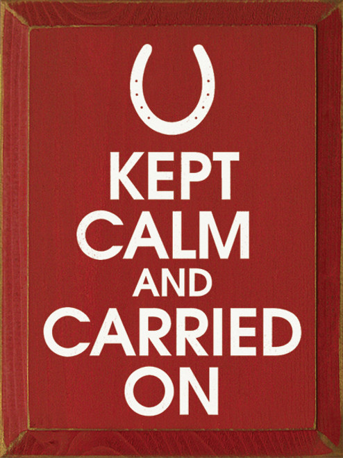 Wood Sign - Kept Calm And Carried On (Horseshoe)