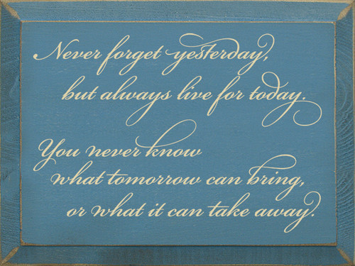 Never forget yesterday, but always live for today. You never know what tomorrow can bring, or what it can take away.