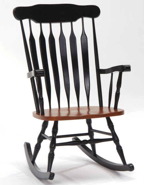 Solid Birch Slat Back Rocking Chair Two Tone Finish