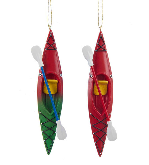 Kayak With Paddle Ornament - Set of Two 5.25 Inches