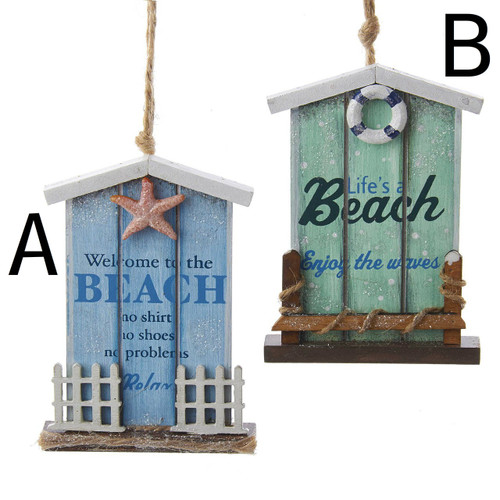 Wooden Beach House Sign Ornament Welcome to the Beach - Life's A Beach