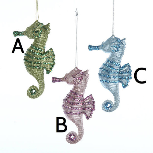 Ornaments Glittery Seahorse 3 Assorted Colors - 4 inches