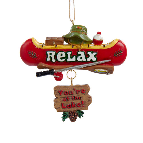 Relax You're At The Lake Canoe Ornament Resin 3.5""