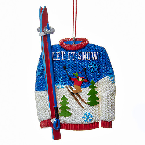 Let It Snow Ski Sweater Ornament