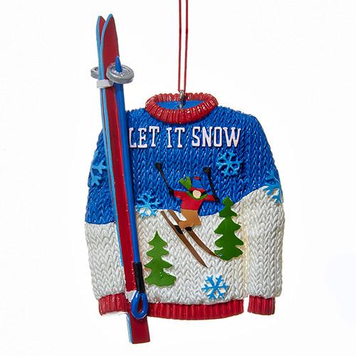 Let It Snow Ski Sweater Ornament