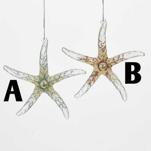 Starfish With Glitter Ornament  5 inch  Acrylic