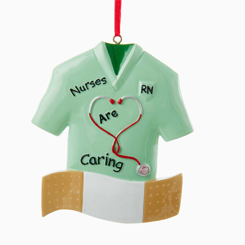Nurses are Caring - Ornament Personalized Green Scrubs with Bandaid 4 inches