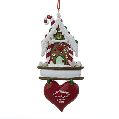 "GINGERBREAD HOUSE ""GRANDCHILDREN HUGGED LOVED & SPOILED"" ORNAMENT FOR PERSONALIZATION"