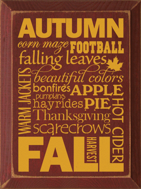 Autumn Corn Maze Football Falling Leaves Beautiful Colors Bonfires Apple Pie Pumpkins Warm Jackets Hayrides Thanksgiving Scarecrows Hot Cider Harvest Fall Wordle Wood Sign
