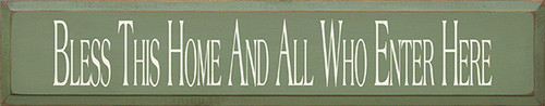 """Bless This Home And All Who Enter Here Wood Painted 36"""" Sign 36"""" x 7"""" Sign"""