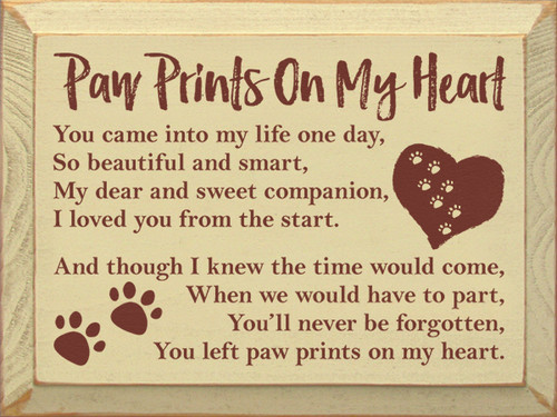 Wood Sign - Paw Prints On My Heart