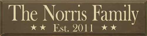 "The CUSTOM Family Est CUSTOM Wood Custom Sign  Brown Board with Cream Text With Stars  36""W x 9"" H   Proudly Made in America"