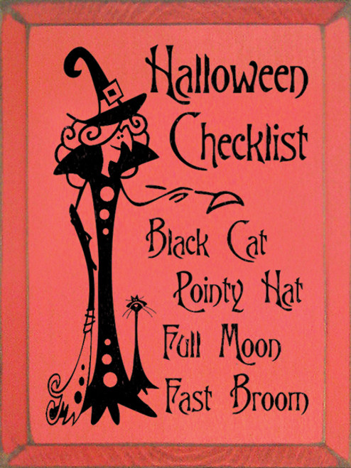 Wood Signs Halloween Checklist: Black Cat, Pointy Hat, Full Moon, Fast Broom  12 x 9