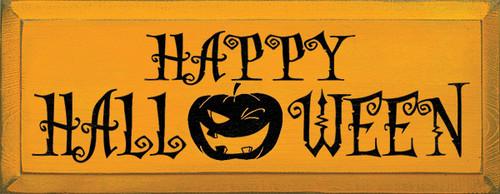 Wood Sign - Happy Halloween (Jack-O-Lantern)