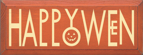 Wood Sign - Happy Halloween (Pumpkin Face)