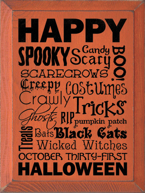 Wood Sign - Happy Halloween Wordle