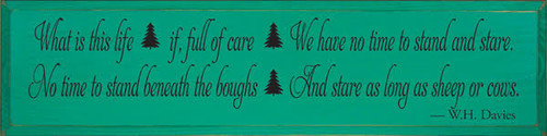 "Emerald Board wtih Black Lettering  36""W x 9""H  Custom Saying"