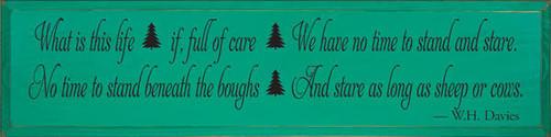 "Emerald Board wtih Black Lettering  36""W x 9""H  Custom Saying"