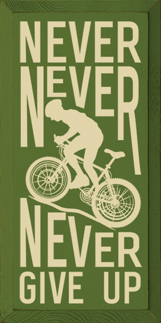 Wood Sign - Never Never Never Give Up