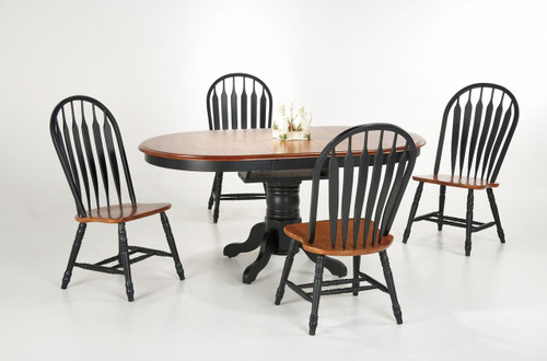 "Single Pedestal Table 42"" x 54"" with Self Storing 12"" Butterly Leaf with 4 Monarch Curved Back Chairs Black & Cherry Finish"