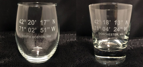 Custom Etched Latitude and Longitude Glasses Set of 4