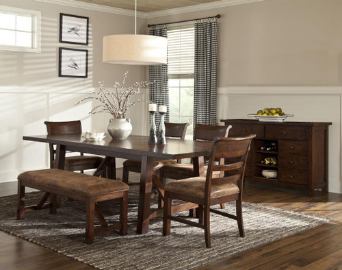 "Rustic Canyon 40"" x 84"" Solid Oak Dining Table with two 10"" leaves  Opens to 40"" x 104"" length Seats 10-12 people"