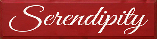 "CUSTOM WOOD PAINTED SIGN 9"" x 36"" Red Board with Cottage White Lettering Serindipity"