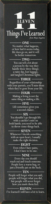 11 Things I Have Learned Wood Sign