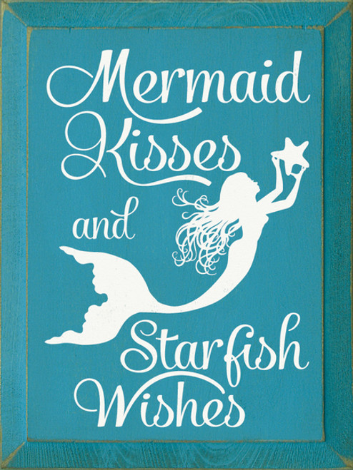 Wood Sign Mermaid Kisses Starfish Wishes 9x12 Country