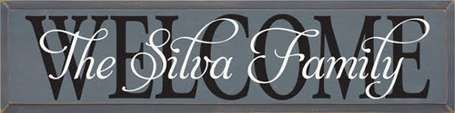"""CUSTOM Family Name Sign 36""""W x 7""""H Slate Board with Black & Cottage White Lettering"""